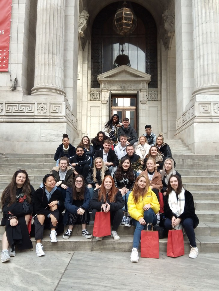 Students outside the New York Public Library
