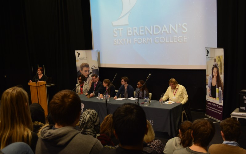 MP Kerry McCarthy addresses students at an election hustings